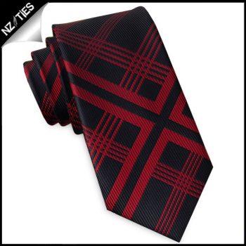 Black With Red Lattice Slim Tie