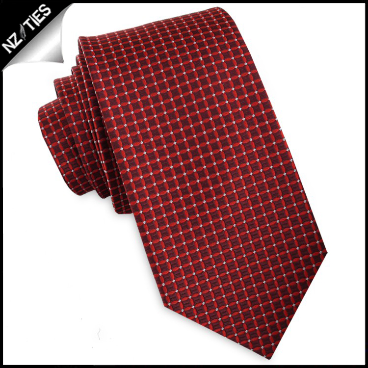 Scarlet with Red & White Checks Slim Tie