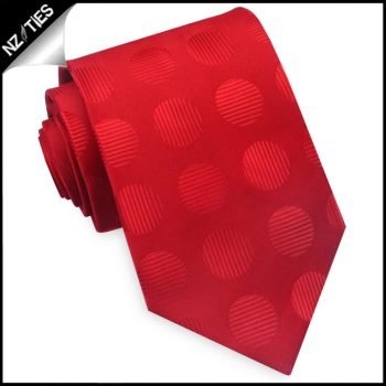 Bright Red With Textured Large Polka Dots Mens Tie