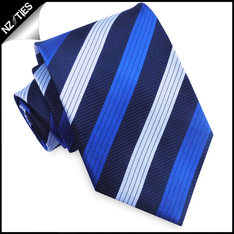Dark Blue with White & Royal Blue Stripes Mens Tie Set 2