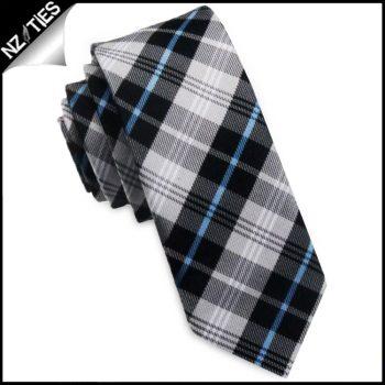 Black, Grey, White & Blue Plaid Skinny Tie