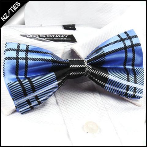 Blue and Black Tartan Bow Tie