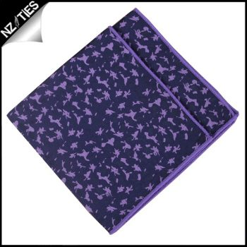 Navy With Purple Brocade Pocket Square