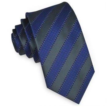 Black With Blue Brick Stripes Slim Tie