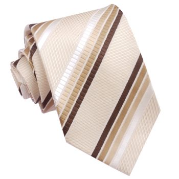 Beige With Mocha, Brown And Ivory Stripes Mens Tie