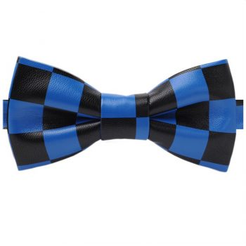 Black & Blue Check Bicast Leather Bow Tie