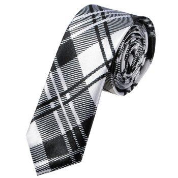 Black & White Tartan Mens Skinny Tie