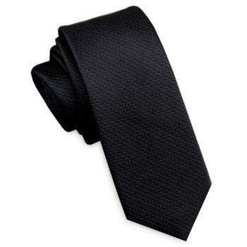 Black Zigzag Textured Skinny Tie