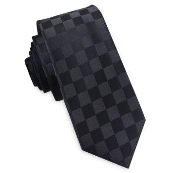 Black On Black Check Skinny Tie