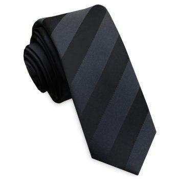Black With Black Stripes Skinny Tie
