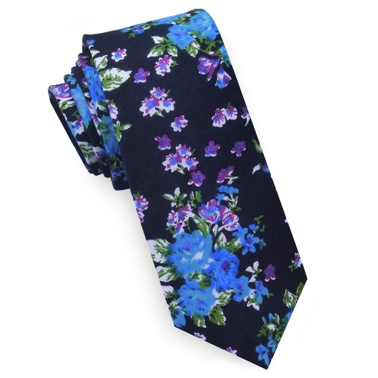 Black with Blue & Purple Floral Pattern Men's Skinny Tie