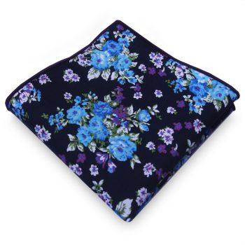 Black With Blue & Purple Floral Pocket Square