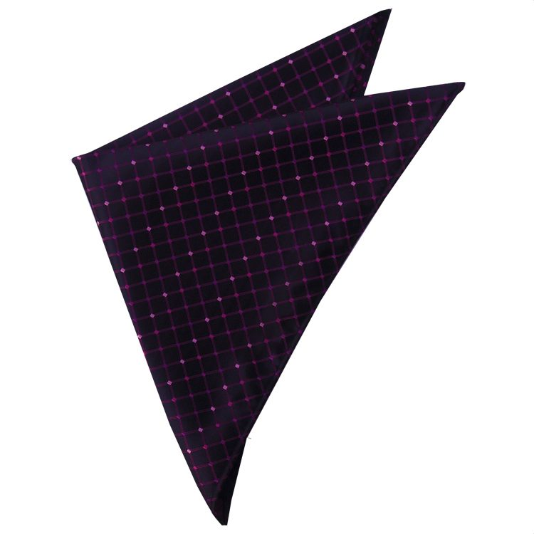 Black with Pink & Purple Grid Pocket Square