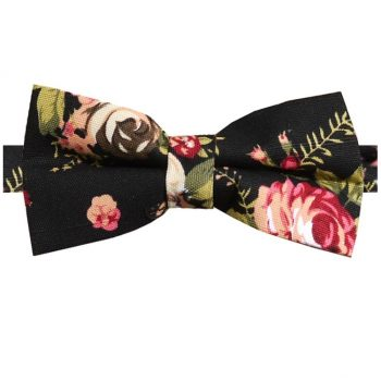 Black With Pink & White Flowers Bow Tie
