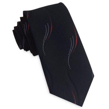 Black With Red & White Swirls Slim Tie