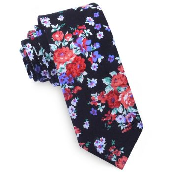 Black With Red, White & Purple Floral Pattern Men's Skinny Tie