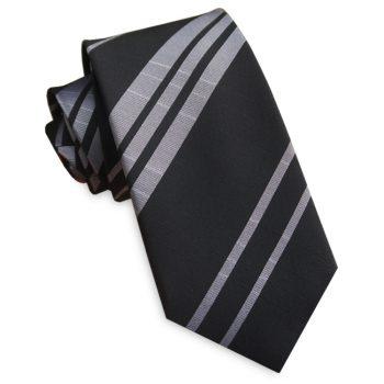 Black With Silver Stripes Slim Tie