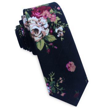 Black With White & Pink Flowers Men's Skinny Tie
