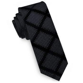 Black With White Speckled Diamonds Pattern Skinny Tie