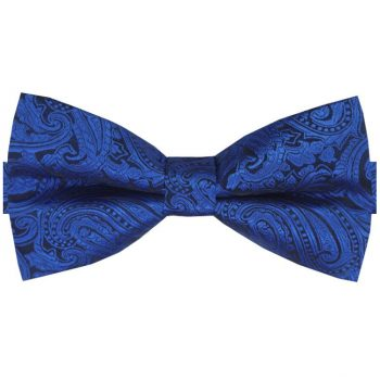 Blue & Black Paisley Design Bow Tie