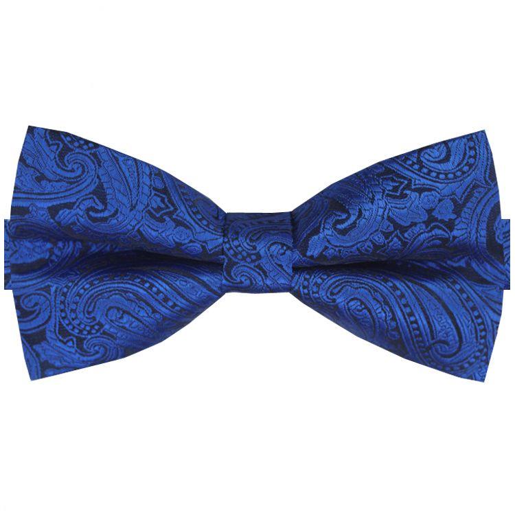 Blue & Black Paisley Design Bow Tie