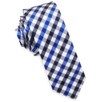 Blue, Black & White Check Plaid Skinny Tie