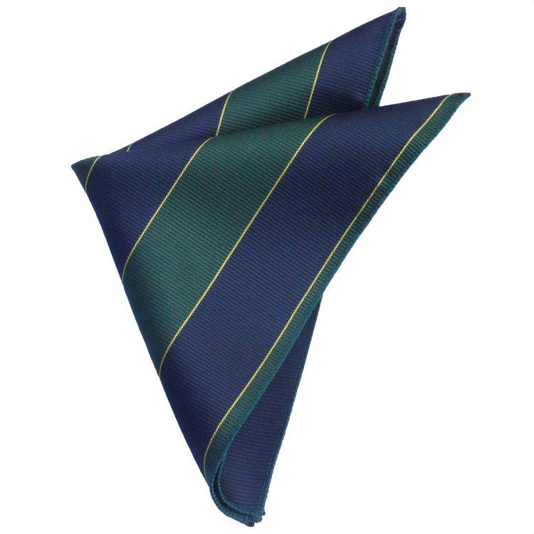 Blue, Green & Gold Stripes Mens Pocket Square