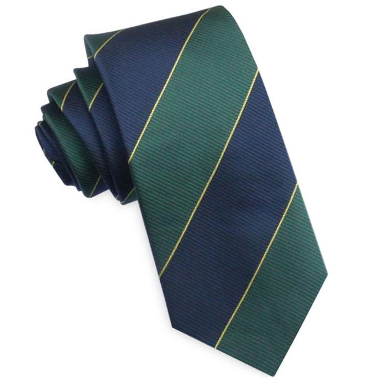 Blue, Green & Gold Stripes Mens Necktie