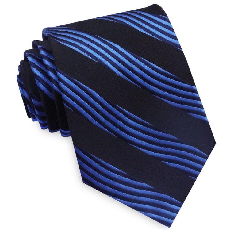 Blue and Black Waves Mens Necktie