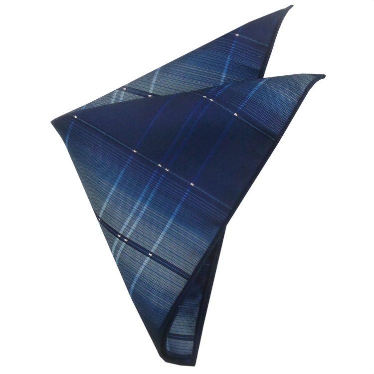 Blue with Crosshatch Diamonds Pocket Square