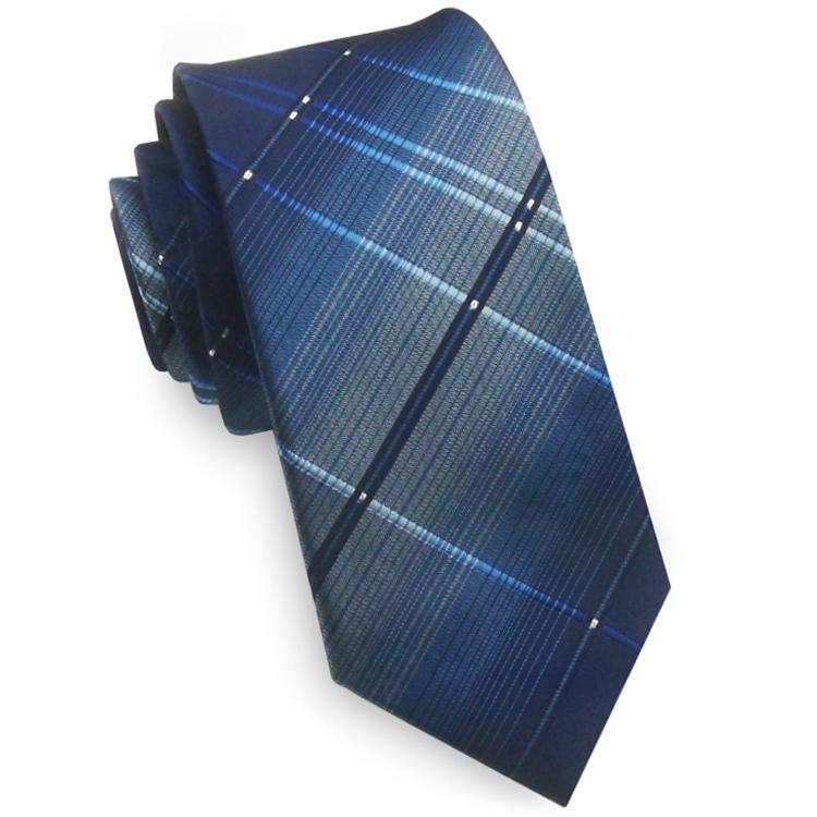 Blue with Crosshatch Diamonds Skinny Tie