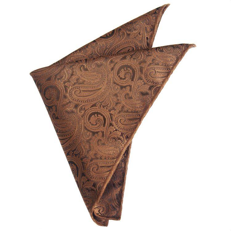 Bronze Paisley Pocket Square