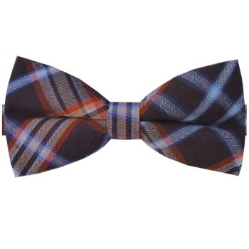Brown, Orange, Blue & White Plaid Bow Tie