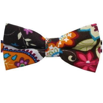 Brown Pink, Blue & Orange Floral Bow Tie