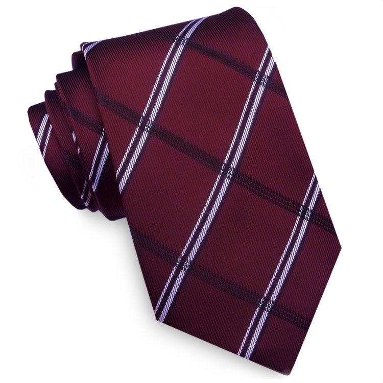 Burgundy Plaid Mens Tie