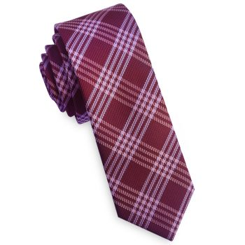 Burgundy & White Plaid Skinny Tie