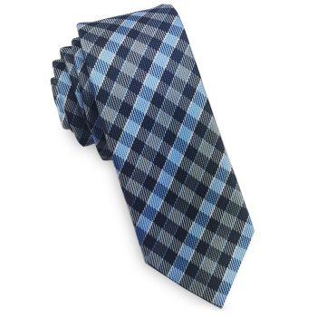Dark Blue, Light Blue & Grey Check Skinny Tie