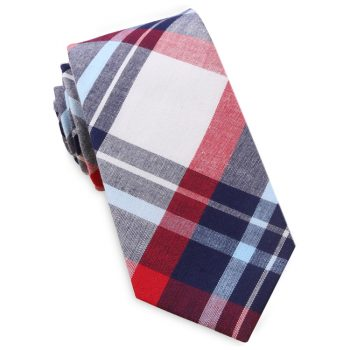 Dark Blue, Light Blue, Red & White Tartan Plaid Slim Tie