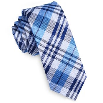 Dark Blue, Light Blue & White Plaid Skinny Tie