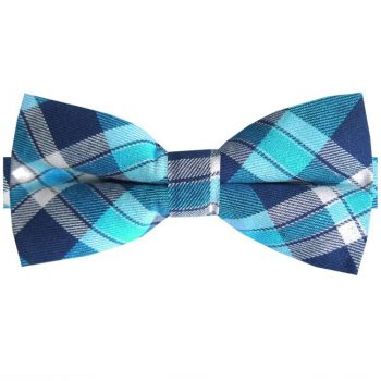 Dark Blue, Turquoise & White Tartan Bow Tie