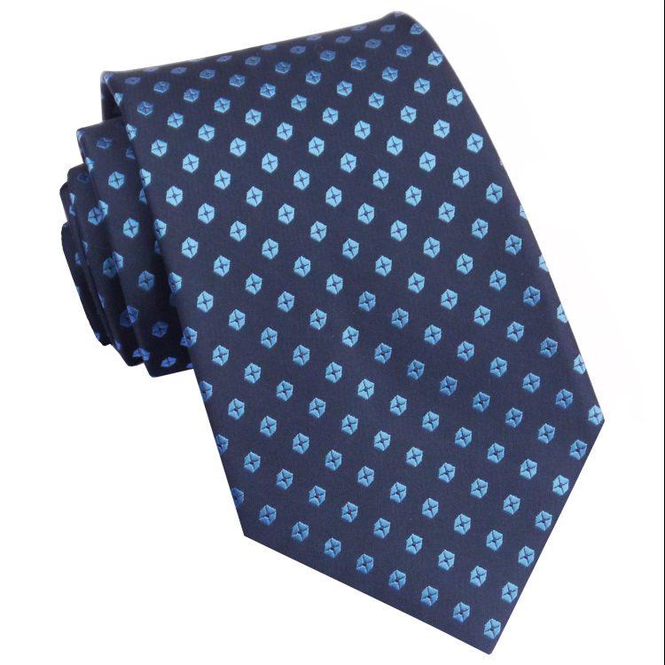 Dark Blue with Light Blue Hexagons Mens Tie