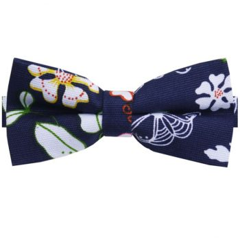 Dark Blue With Spring Flowers Pattern Bow Tie