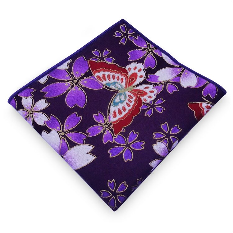 Dark Purple with Floral & Butterflies Pocket Square
