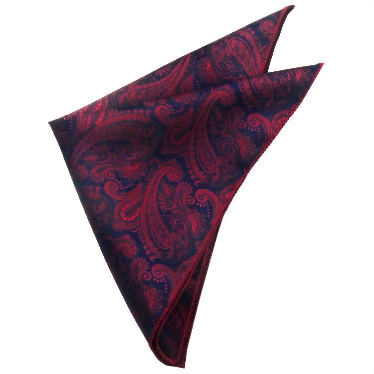 Dark Blue & Red Paisley Pocket SquareDark Blue & Red Paisley Pocket Square