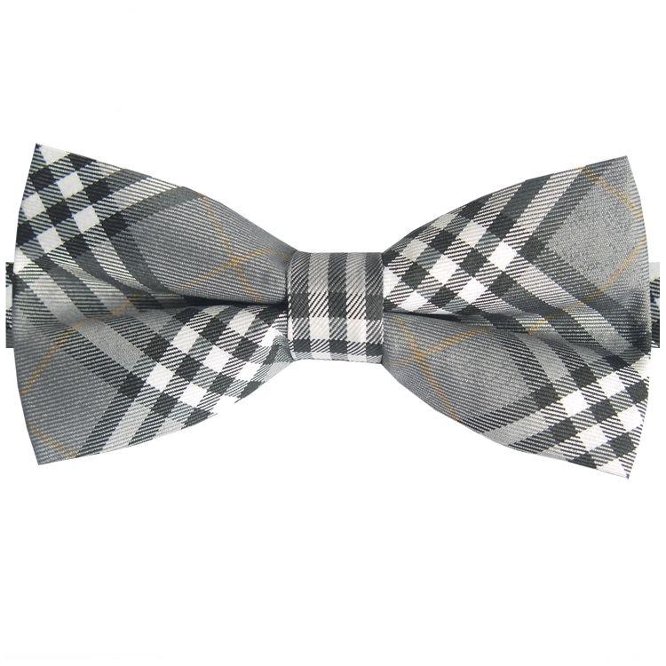 Grey, Black, White & Gold Tartan Bow Tie