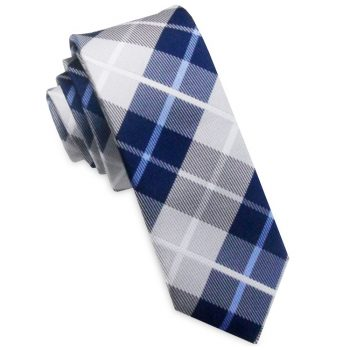 Grey, White & Blue Plaid Skinny Tie