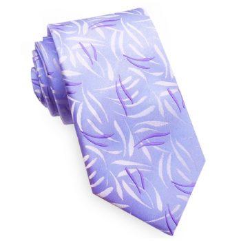 Lavender Purple With Floral Swirls Men's Slim Tie