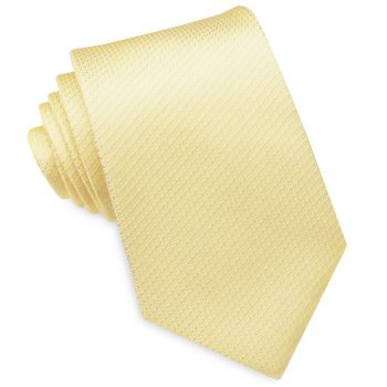 Light Gold Yellow Woven Texture Mens Tie
