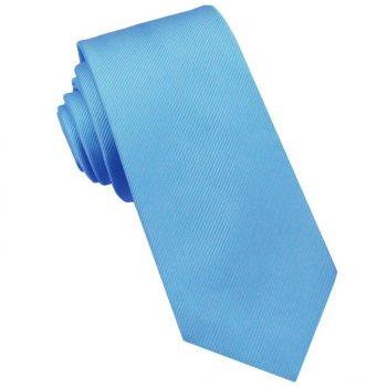 Light Sky Blue Ribbed 6cm Mens Slim Tie