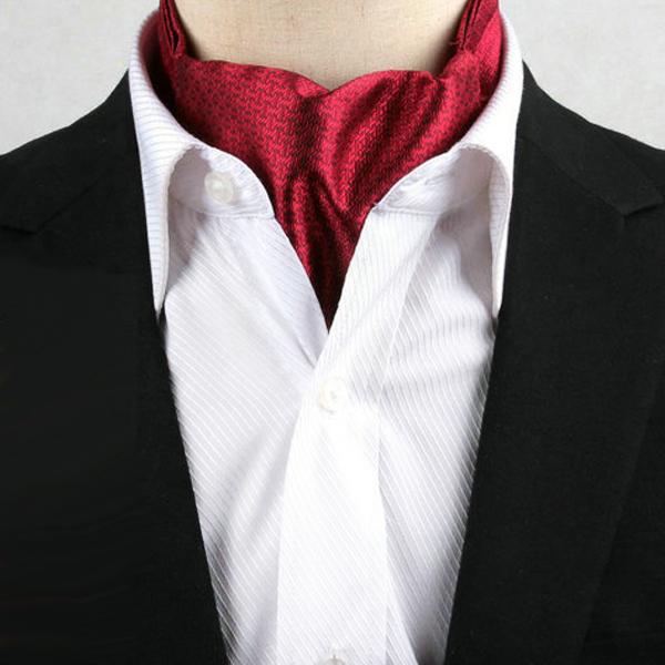 Men's Red Zig Zag Design Ascot Cravat